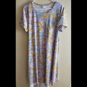 Lularoe Carly Large Pastel Paisley Easter Dress